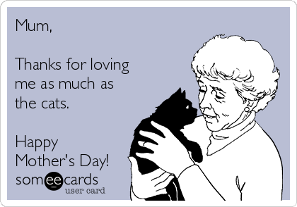 Mum,  Thanks for loving me as much as the cats.  Happy Mother's Day!