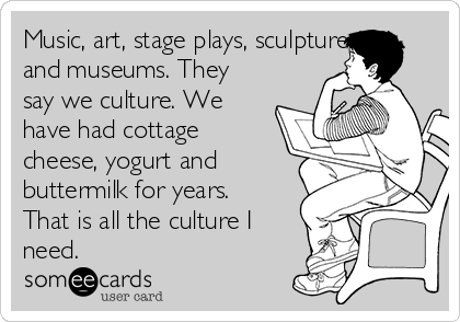 Music, art, stage plays, sculpture, and museums. They say we culture. We have had cottage cheese, yogurt and buttermilk for years. That is all the culture I need.