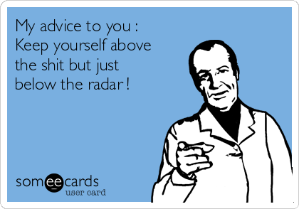 My advice to you :       Keep yourself above the shit but just below the radar !