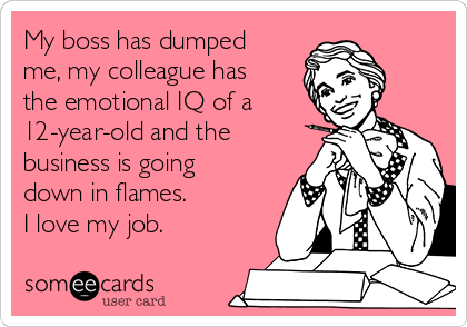 My boss has dumped me, my colleague has the emotional IQ of a 12-year-old and the business is going down in flames. I love my job.