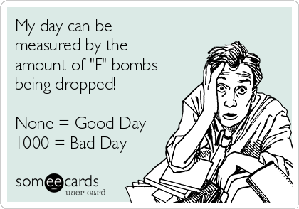 "My day can be measured by the amount of ""F"" bombs being dropped!  None = Good Day 1000 = Bad Day"
