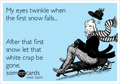 My eyes twinkle when the first snow falls...   After that first snow let that white crap be gone.