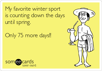 My favorite winter sport is counting down the days until spring.  Only 75 more days!!