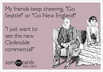 """My friends keep cheering, """"Go Seattle!"""" or """"Go New England!""""  """"I just want to see the new Clydesdale commercial!"""""""