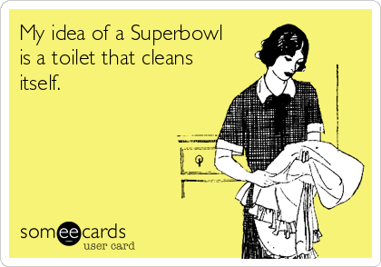 My idea of a Superbowl is a toilet that cleans itself.