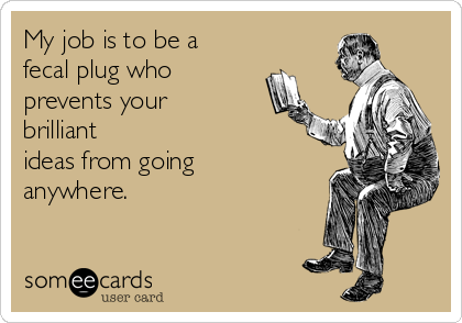 My job is to be a fecal plug who prevents your brilliant ideas from going anywhere.