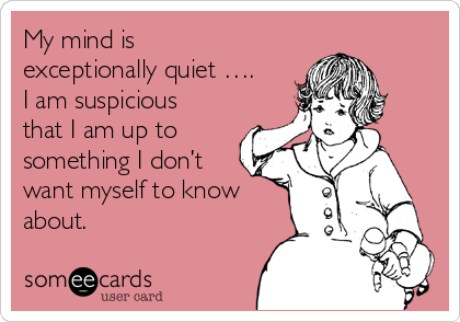 My mind is exceptionally quiet ….  I am suspicious that I am up to something I don't want myself to know about.