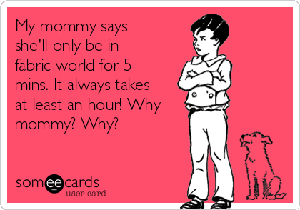 My mommy says she'll only be in fabric world for 5 mins. It always takes at least an hour! Why mommy? Why?