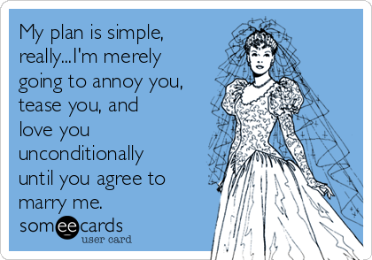 My plan is simple, really...I'm merely going to annoy you, tease you, and love you unconditionally until you agree to marry me.