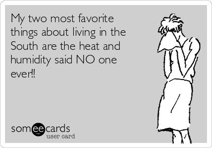 My two most favorite things about living in the South are the heat and humidity said NO one ever!!