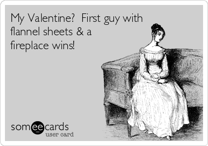 My Valentine?  First guy with flannel sheets & a fireplace wins!