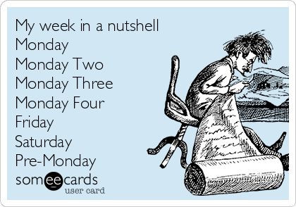 My week in a nutshell Monday Monday Two Monday Three Monday Four Friday Saturday Pre-Monday