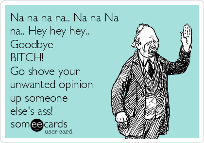 Na na na na.. Na na Na na.. Hey hey hey.. Goodbye BITCH!  Go shove your unwanted opinion up someone else's ass!