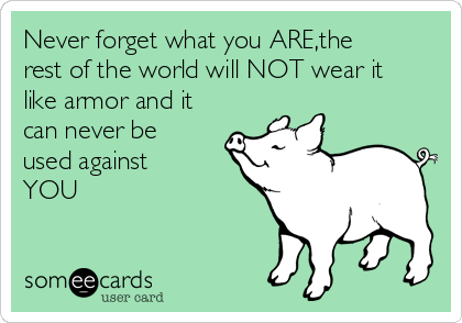 Never forget what you ARE,the rest of the world will NOT wear it like armor and it can never be used against YOU