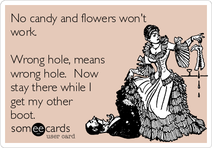 No candy and flowers won't work.  Wrong hole, means wrong hole.  Now stay there while I get my other boot.