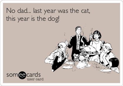 No dad... last year was the cat, this year is the dog!