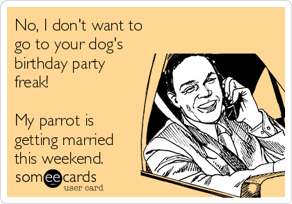 No, I don't want to go to your dog's birthday party freak!  My parrot is getting married this weekend.