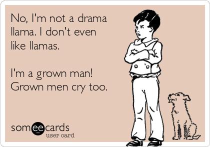 No, I'm not a drama llama. I don't even like llamas.   I'm a grown man! Grown men cry too.