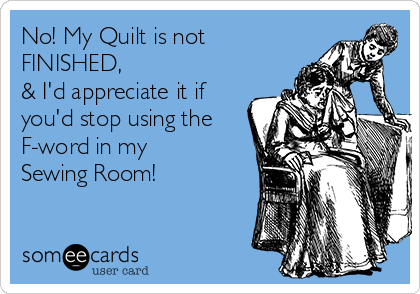 No! My Quilt is not FINISHED,  & I'd appreciate it if you'd stop using the F-word in my Sewing Room!