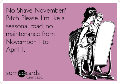 No Shave November? Bitch Please. I'm like a seasonal road, no maintenance from November 1 to April 1.