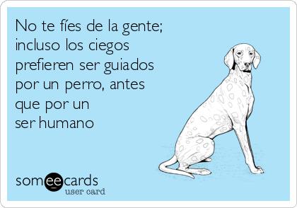 No te fíes de la gente; incluso los ciegos prefieren ser guiados por un perro, antes que por un ser humano
