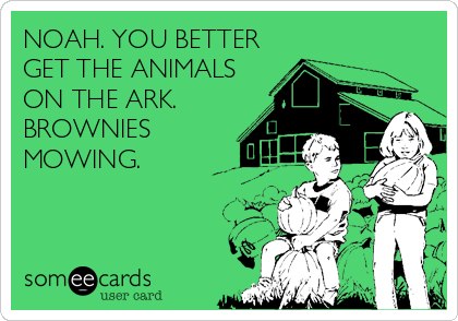 NOAH. YOU BETTER GET THE ANIMALS ON THE ARK. BROWNIES MOWING.