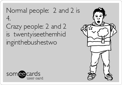 Normal people:  2 and 2 is 4. Crazy people: 2 and 2 is  twentyiseethemhid inginthebushestwo