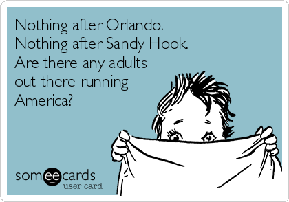 Nothing after Orlando.  Nothing after Sandy Hook.  Are there any adults out there running America?