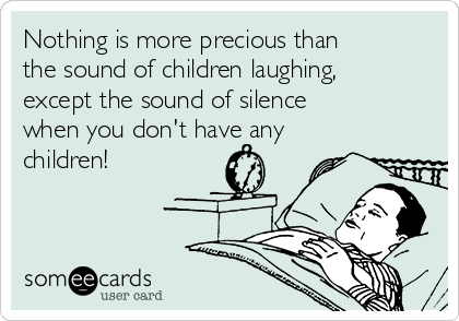 Nothing is more precious than the sound of children laughing, except the sound of silence when you don't have any children!