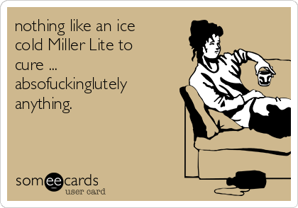 nothing like an ice cold Miller Lite to cure ...  absofuckinglutely anything.