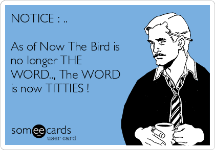 NOTICE : ..  As of Now The Bird is no longer THE WORD.., The WORD is now TITTIES !