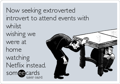 Now seeking extroverted introvert to attend events with whilst wishing we were at home watching Netflix instead.