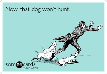 Now, that dog won't hunt.