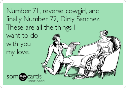 Number 71, reverse cowgirl, and finally Number 72, Dirty Sanchez. These are all the things I want to do with you my love.