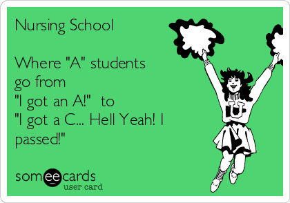 "Nursing School  Where ""A"" students go from  ""I got an A!""  to  ""I got a C... Hell Yeah! I passed!"""