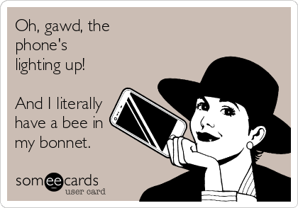 Oh, gawd, the phone's lighting up!  And I literally have a bee in my bonnet.