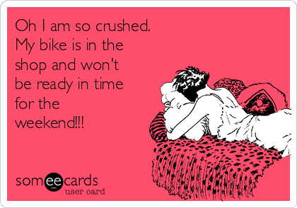 Oh I am so crushed.  My bike is in the shop and won't be ready in time for the weekend!!!