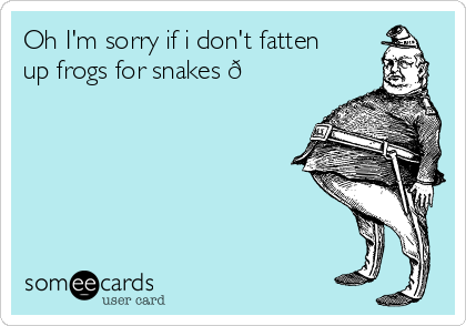Oh I'm sorry if i don't fatten up frogs for snakes