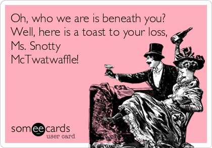 Oh, who we are is beneath you? Well, here is a toast to your loss, Ms. Snotty McTwatwaffle!