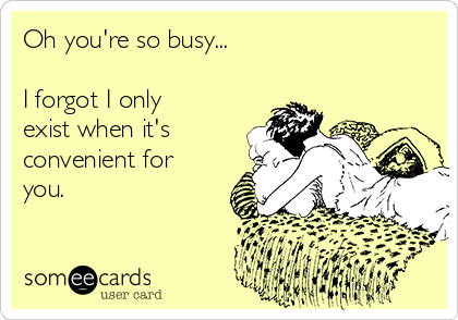 Oh you're so busy...  I forgot I only exist when it's convenient for you.