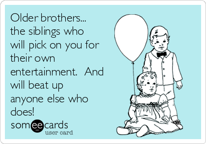 Older brothers... the siblings who will pick on you for their own entertainment.  And will beat up anyone else who does!