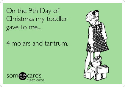 On the 9th Day of Christmas my toddler gave to me...  4 molars and tantrum.