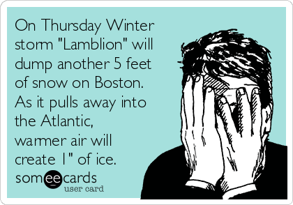"""On Thursday Winter storm """"Lamblion"""" will dump another 5 feet of snow on Boston. As it pulls away into the Atlantic, warmer air will create 1"""" of ice."""