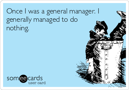 Once I was a general manager. I generally managed to do nothing.