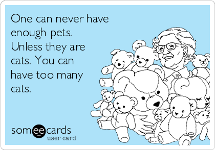 One can never have enough pets. Unless they are cats. You can have too many cats.