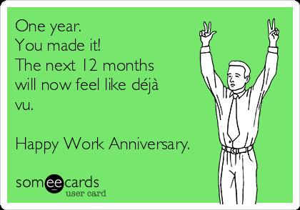 1 year work anniversary cards
