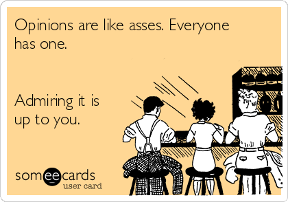 Opinions are like asses. Everyone has one.   Admiring it is up to you.