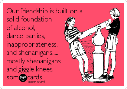 Our friendship is built on a solid foundation of alcohol, dance parties, inappropriateness, and shenanigans..... mostly shenanigans and giggle knees.