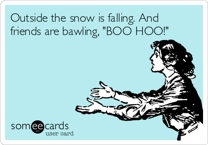 "Outside the snow is falling. And friends are bawling, ""BOO HOO!"""