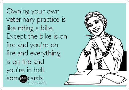 Owning your own veterinary practice is like riding a bike. Except the bike is on fire and you're on fire and everything is on fire and you're in hell.